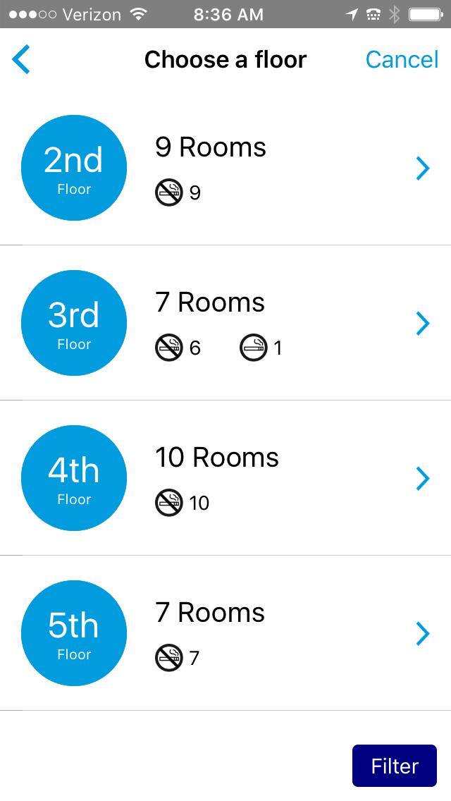 choose a floor on the hilton app