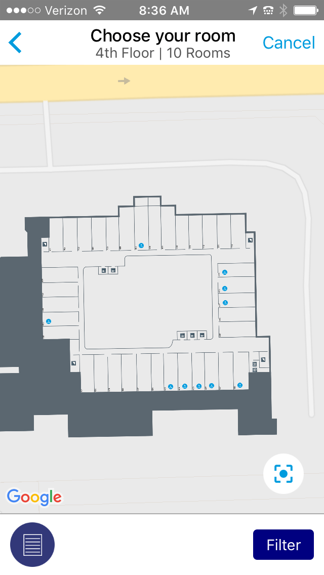 choose your room map on the hilton app