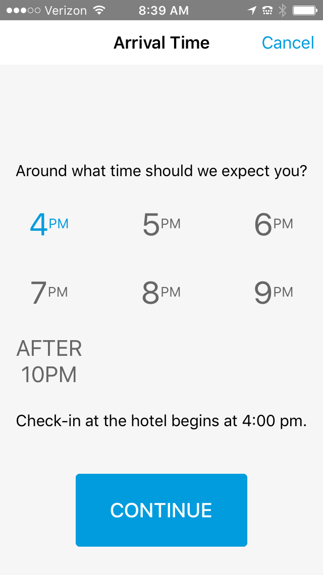 hilton early check in times in hilton app