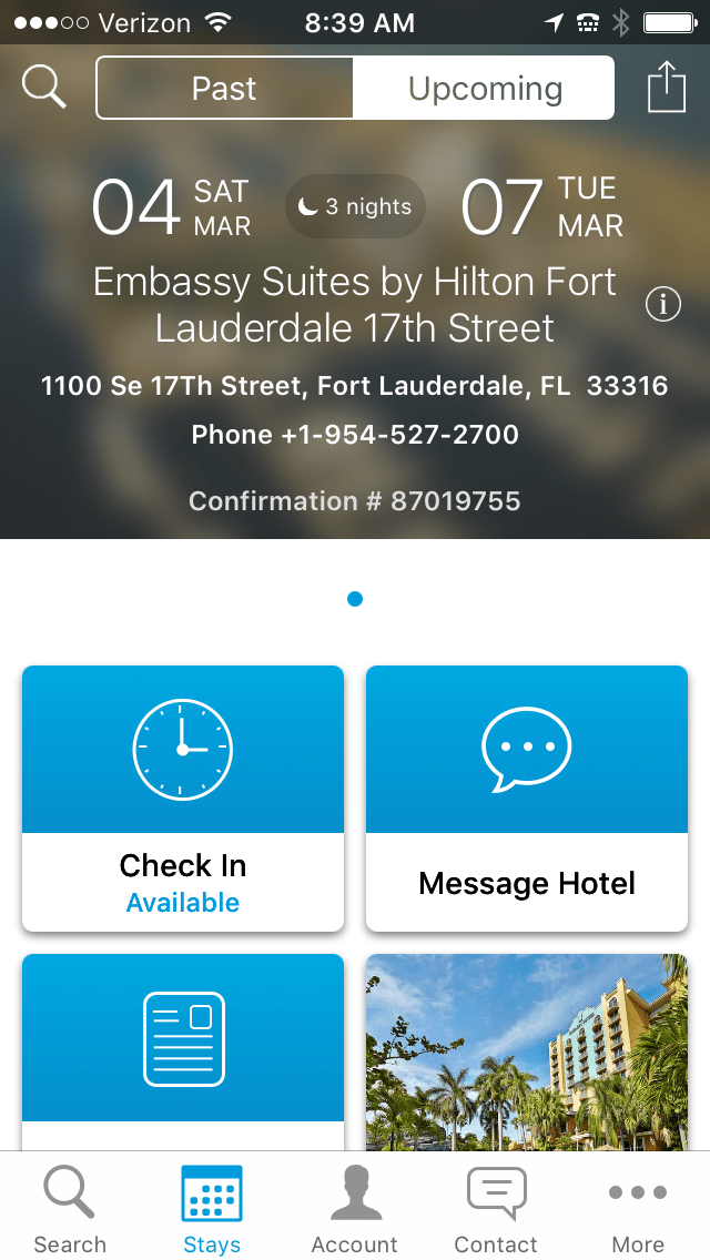 hilton online check in options in app