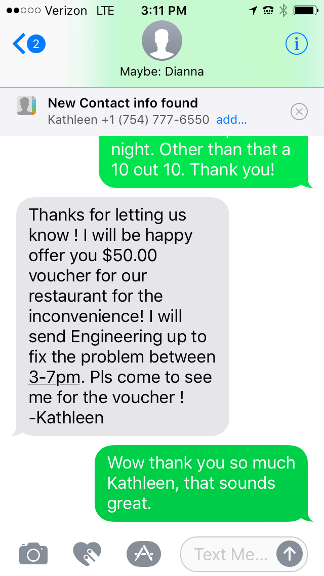 customer service text message