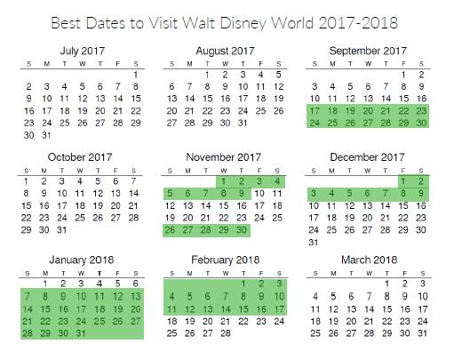the best dates to visit walt disney world   printable 2017