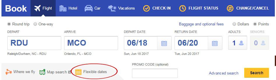 flexible dates option online
