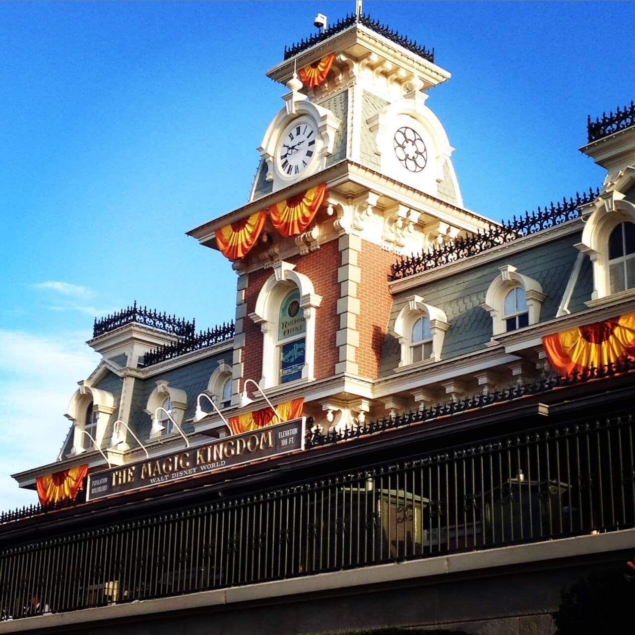 Magic Kingdom train station in fall