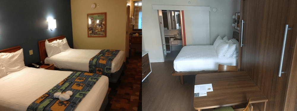 Old vs. new rooms at Pop Century