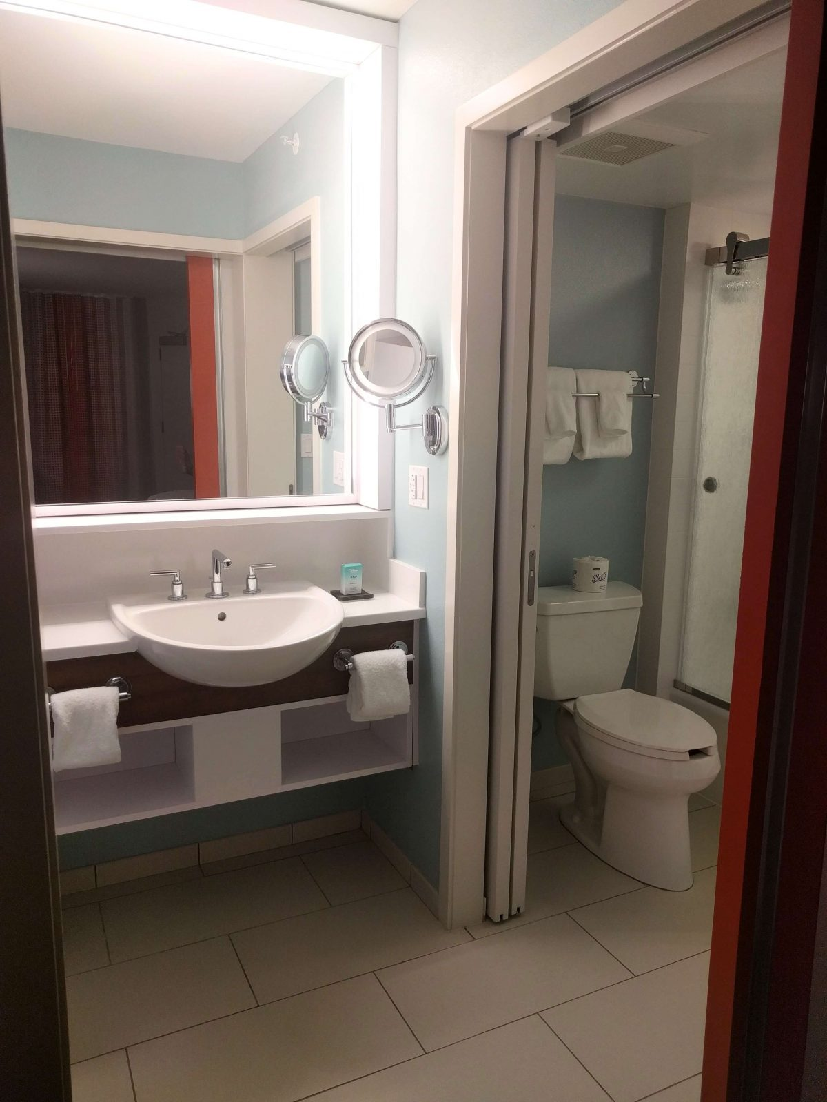 bathroom with sliding pocket door