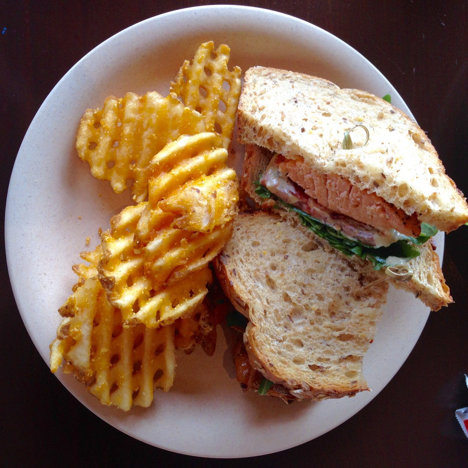 Salmon BLT and waffle fries from geyser point