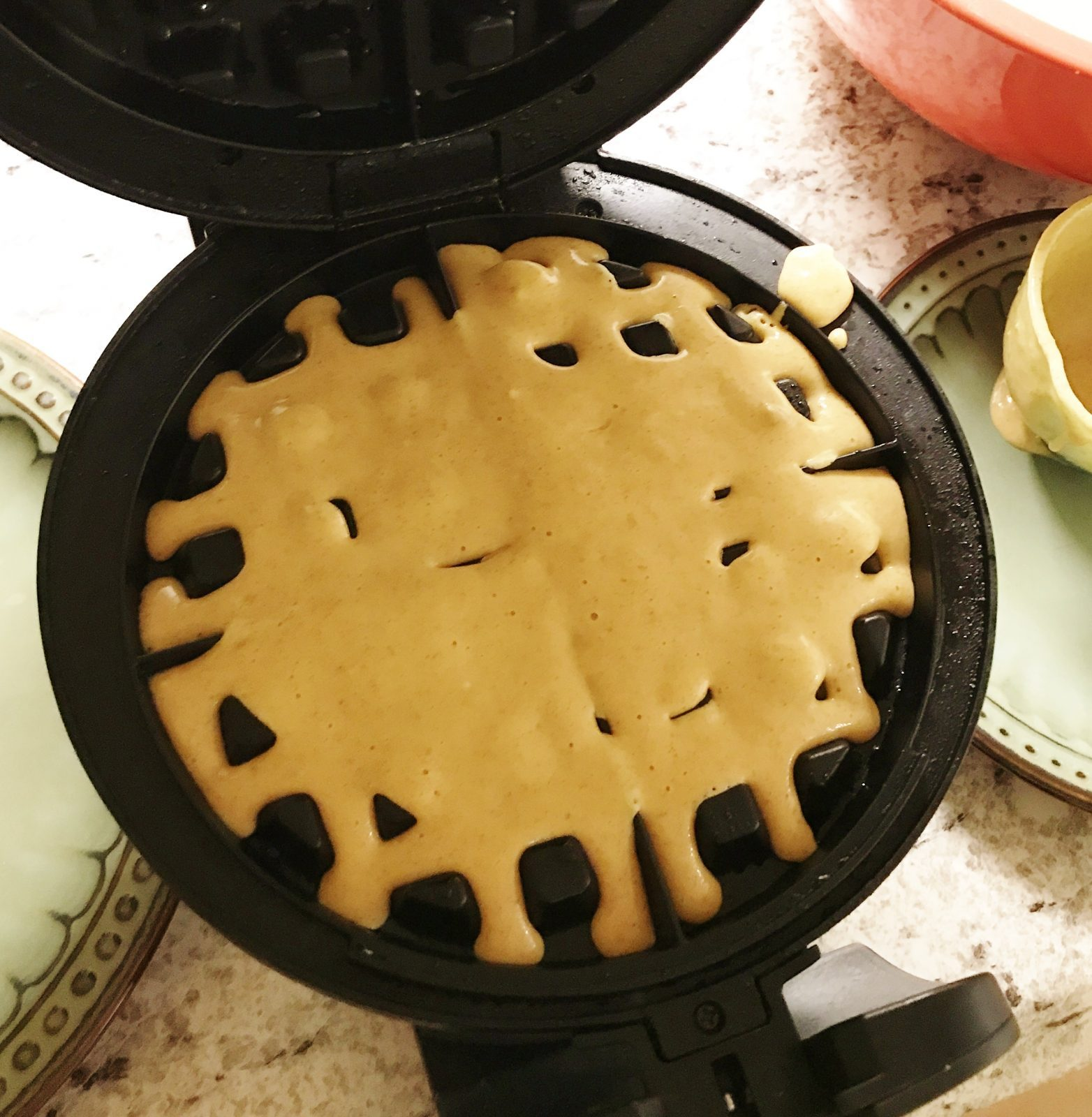 batter in the waffle maker