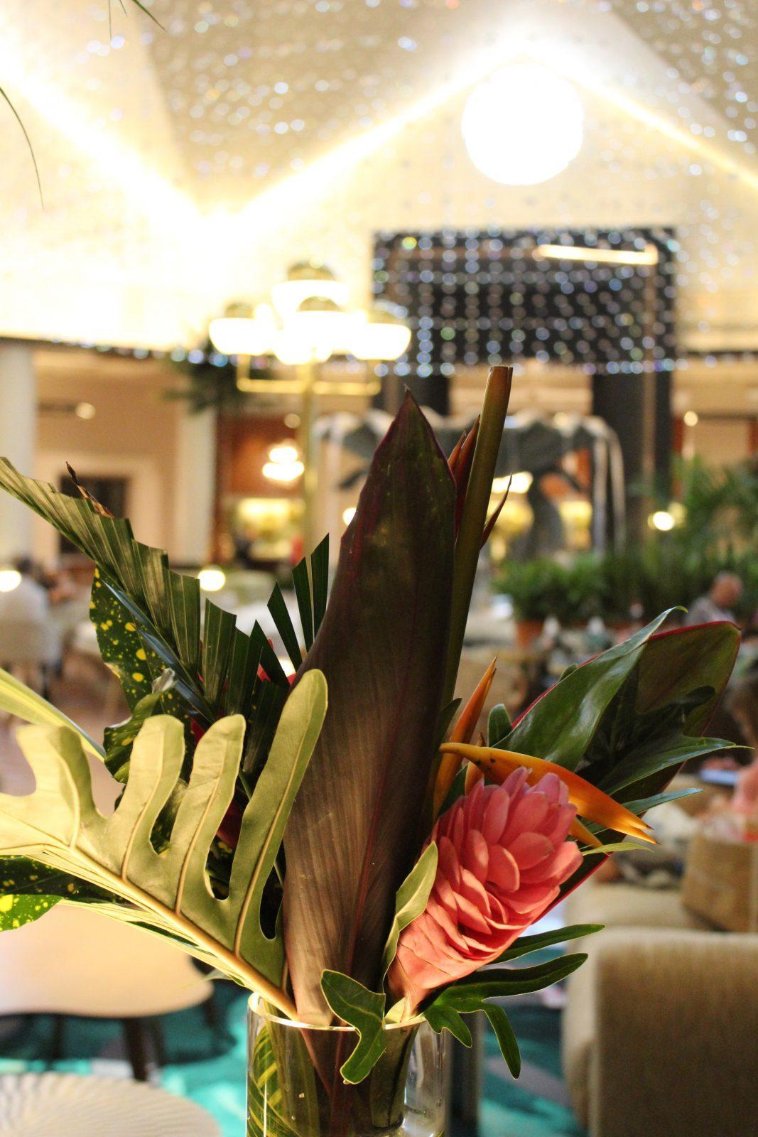 floral arrangement in lobby