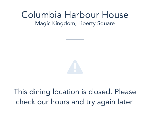 Columbia Harbour House on the disney app