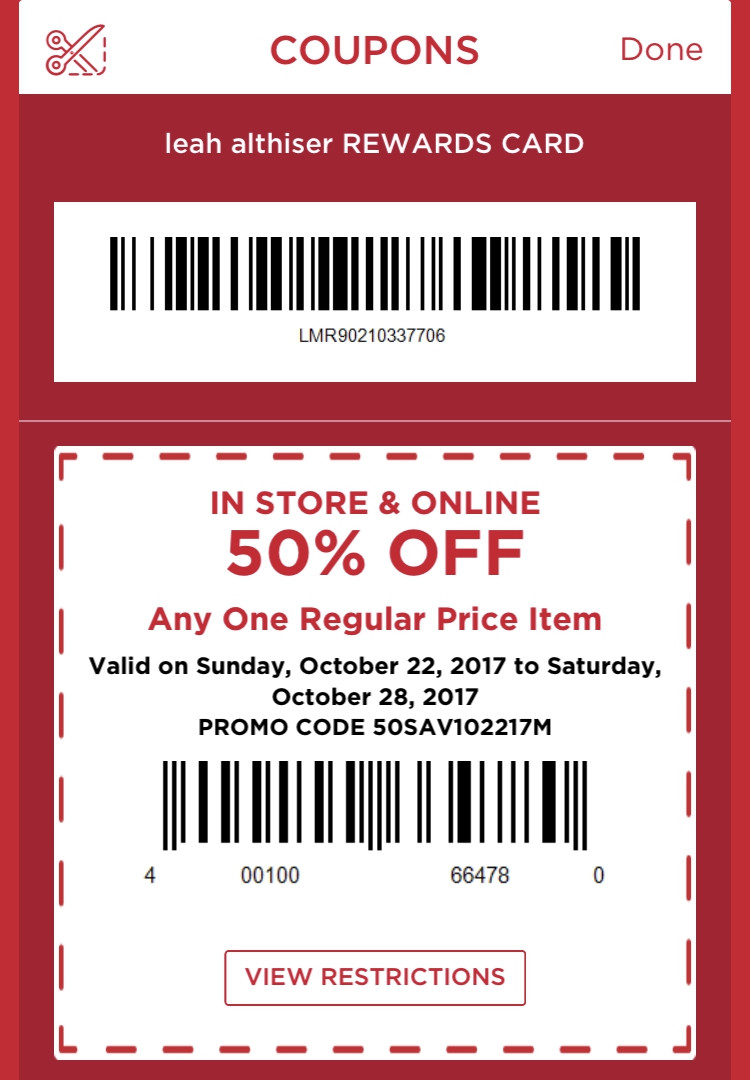 Michaels coupons mobile app