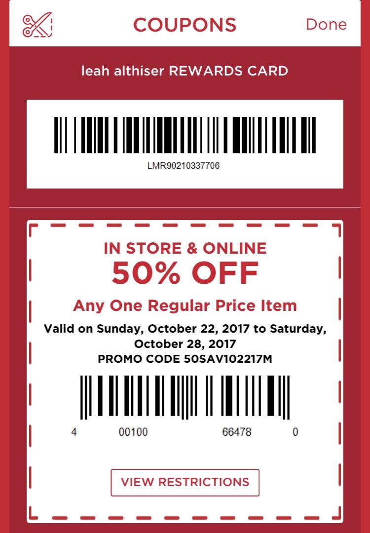 rewards card coupons