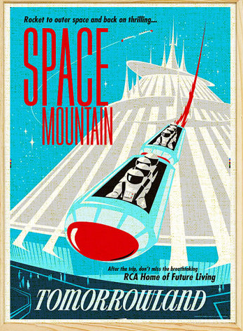vintage space mountain poster