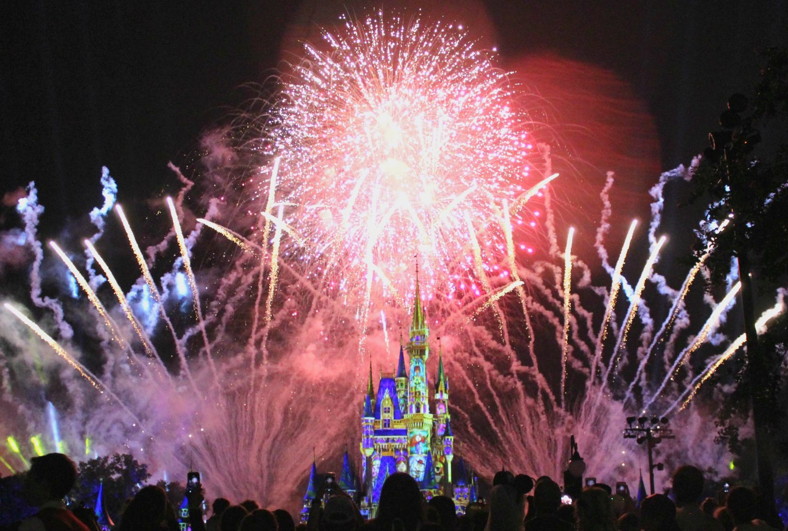 fireworks at night over cinderella's castle