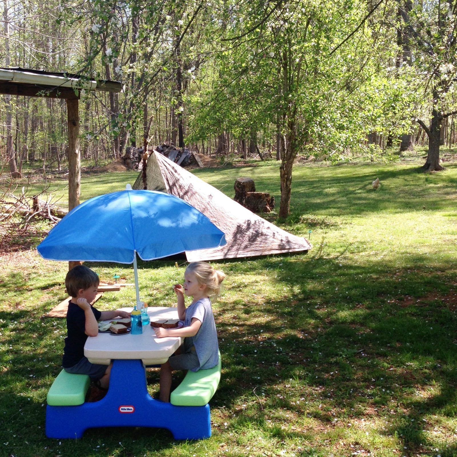 two little kids having a picnic