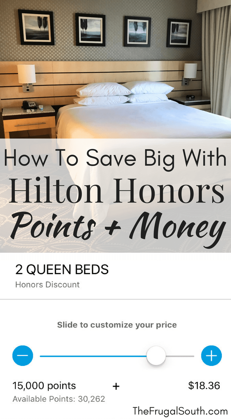 Get big savings on Hilton hotel stays with their new Points + Money option! How to find the best deals with the Hilton app and use Points to reduce the cost of your stay. #budgettravel