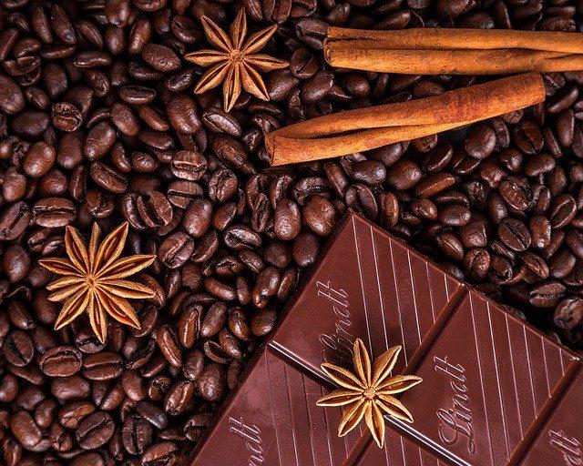 coffee beans, chocolate, and cinnamon sticks