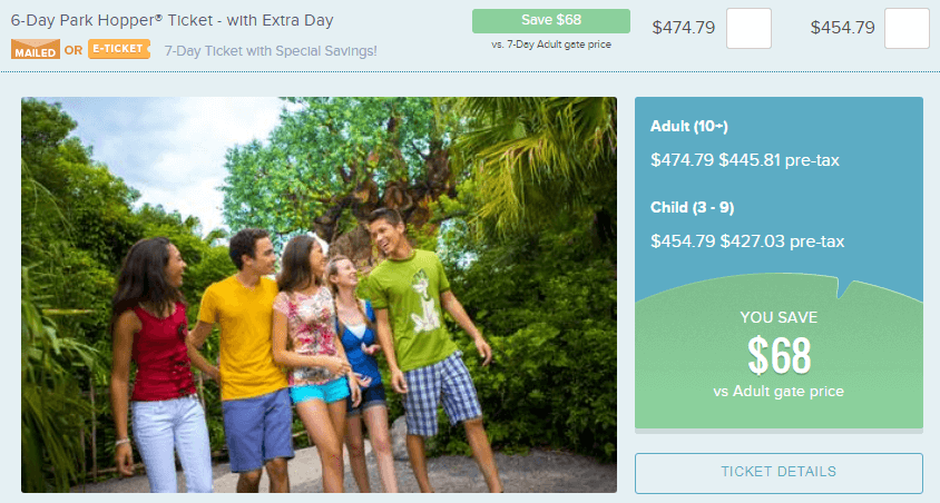 Image of the Undercover Tourist Website showing the savings on Disney tickets