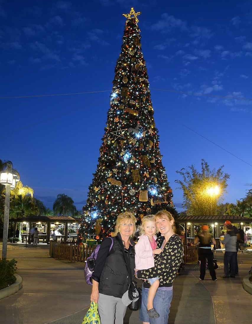family in front of disney christmas tree