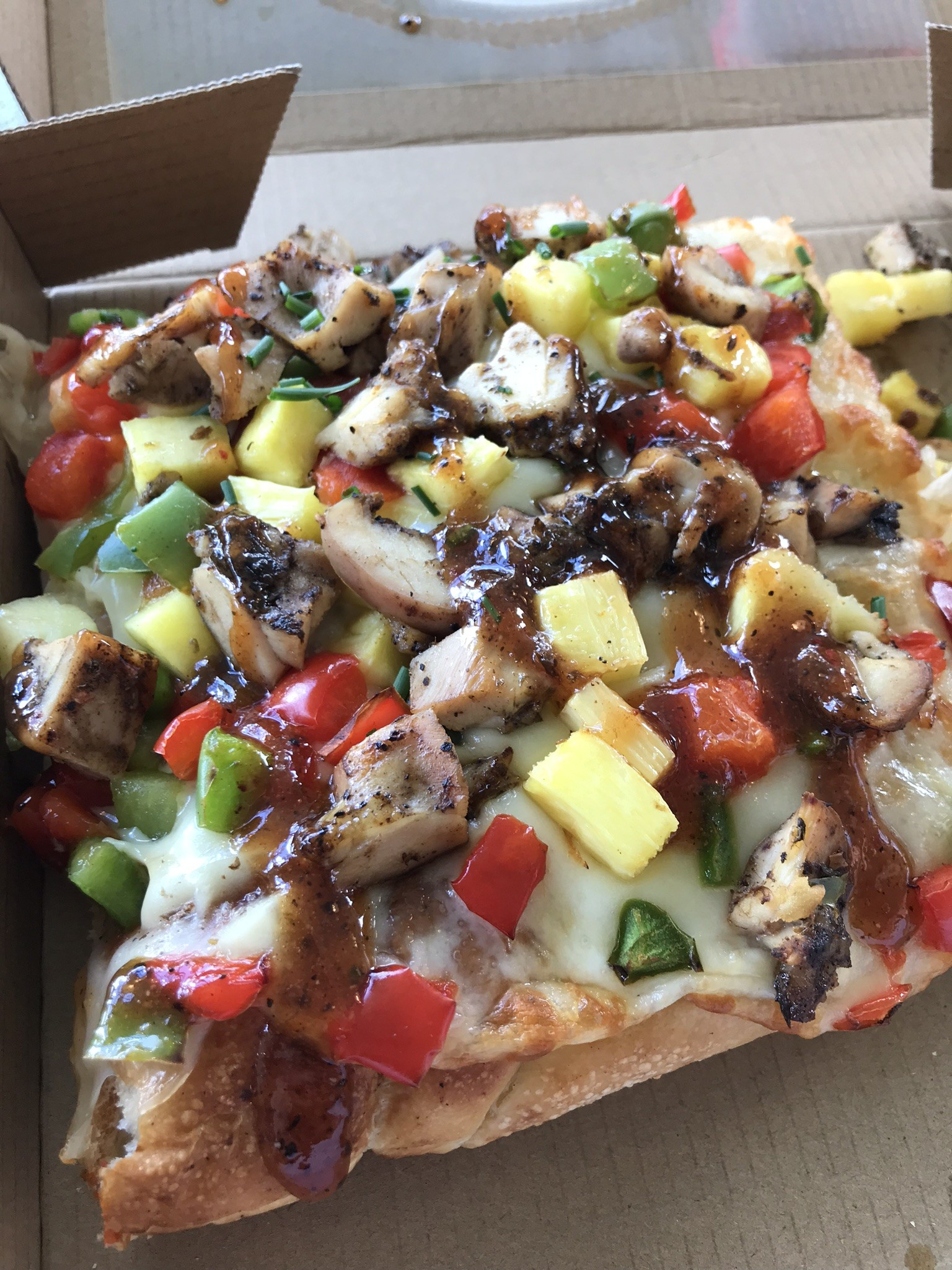 pizza with chunks of veggies and meat