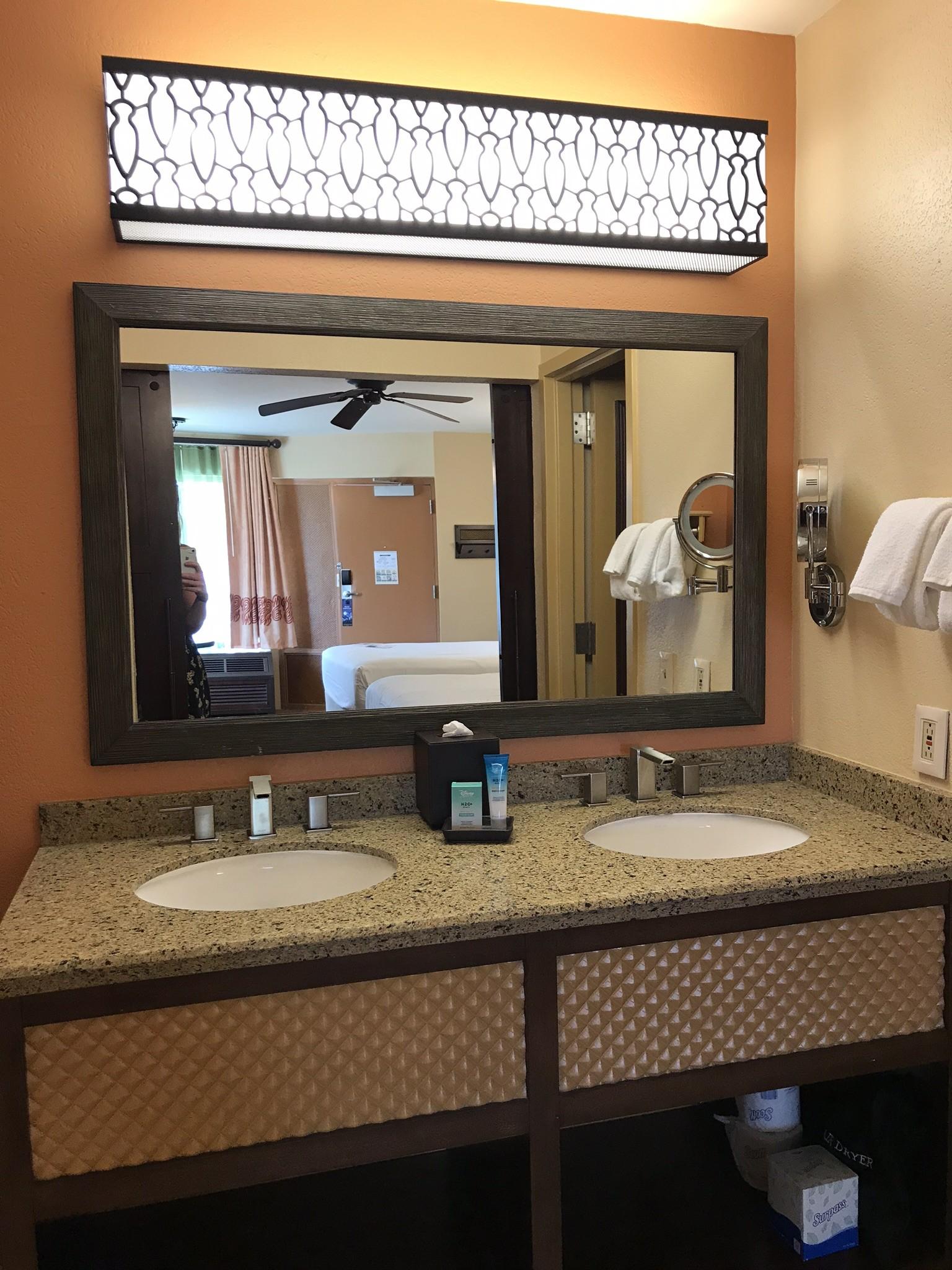in-room bathroom vanity and double sink