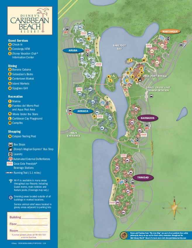 disney caribbean beach resort map 2019