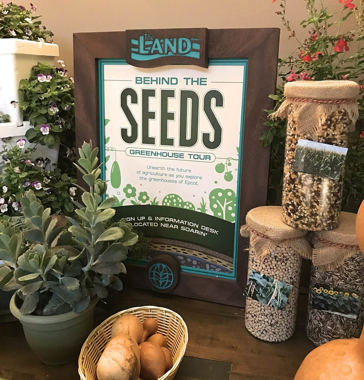 Behind the seeds greenhouse tour sign