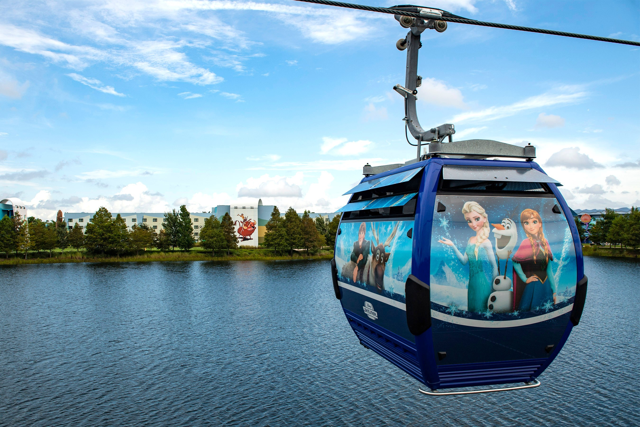 skyliner with frozen themed gondola