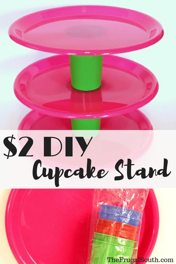 $2 DIY Cupcake Stand Pinterest Image