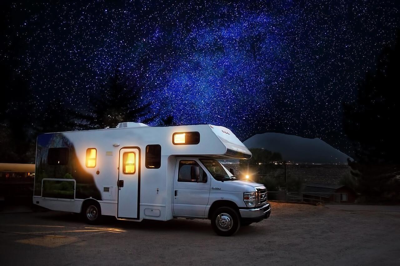 RV under a starry sky