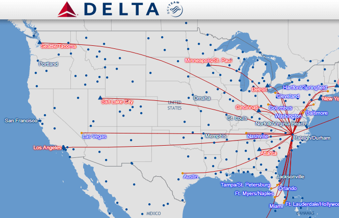 map showing delta flights from Raleigh, NC