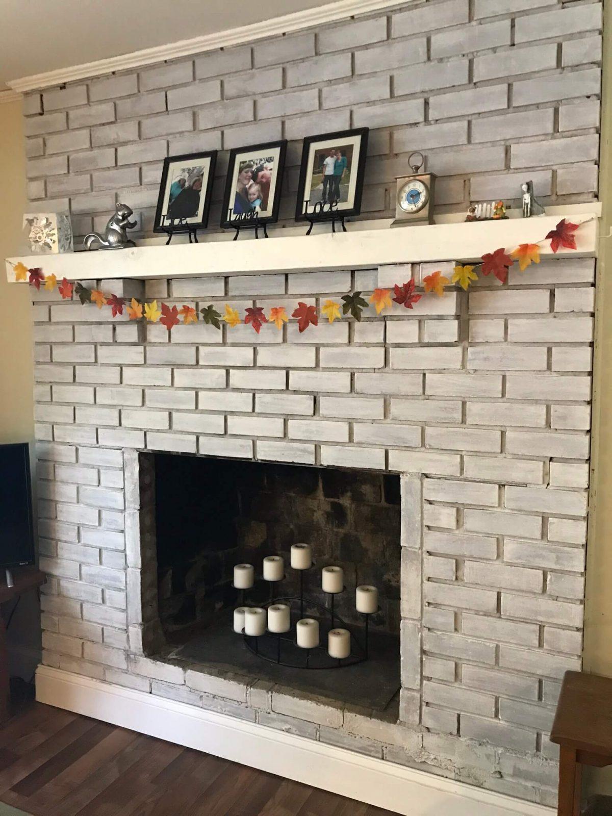 DIY Leaf Garland hanging from fireplace mantle