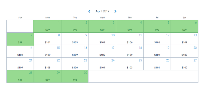 April 2019 calendar showing the cheapest time of year to go to Disney World