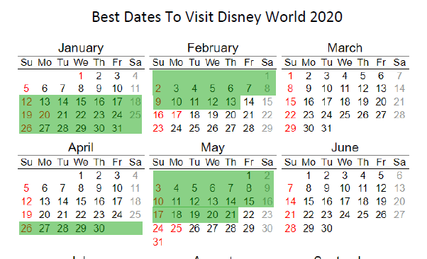 calendar with the best dates to go to disney world highlighted in green
