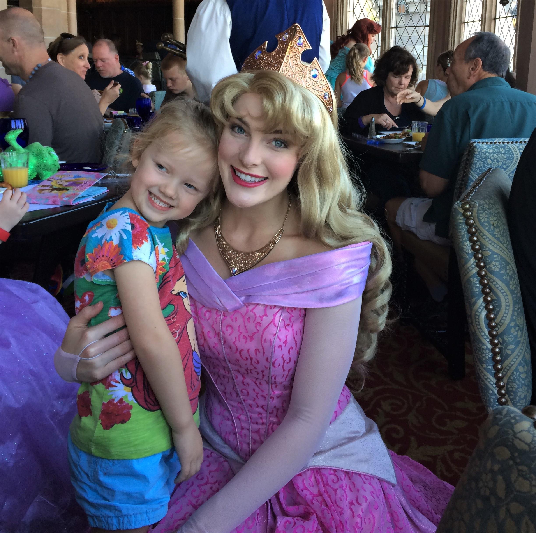 meeting aurora at Cinderella's Royal table