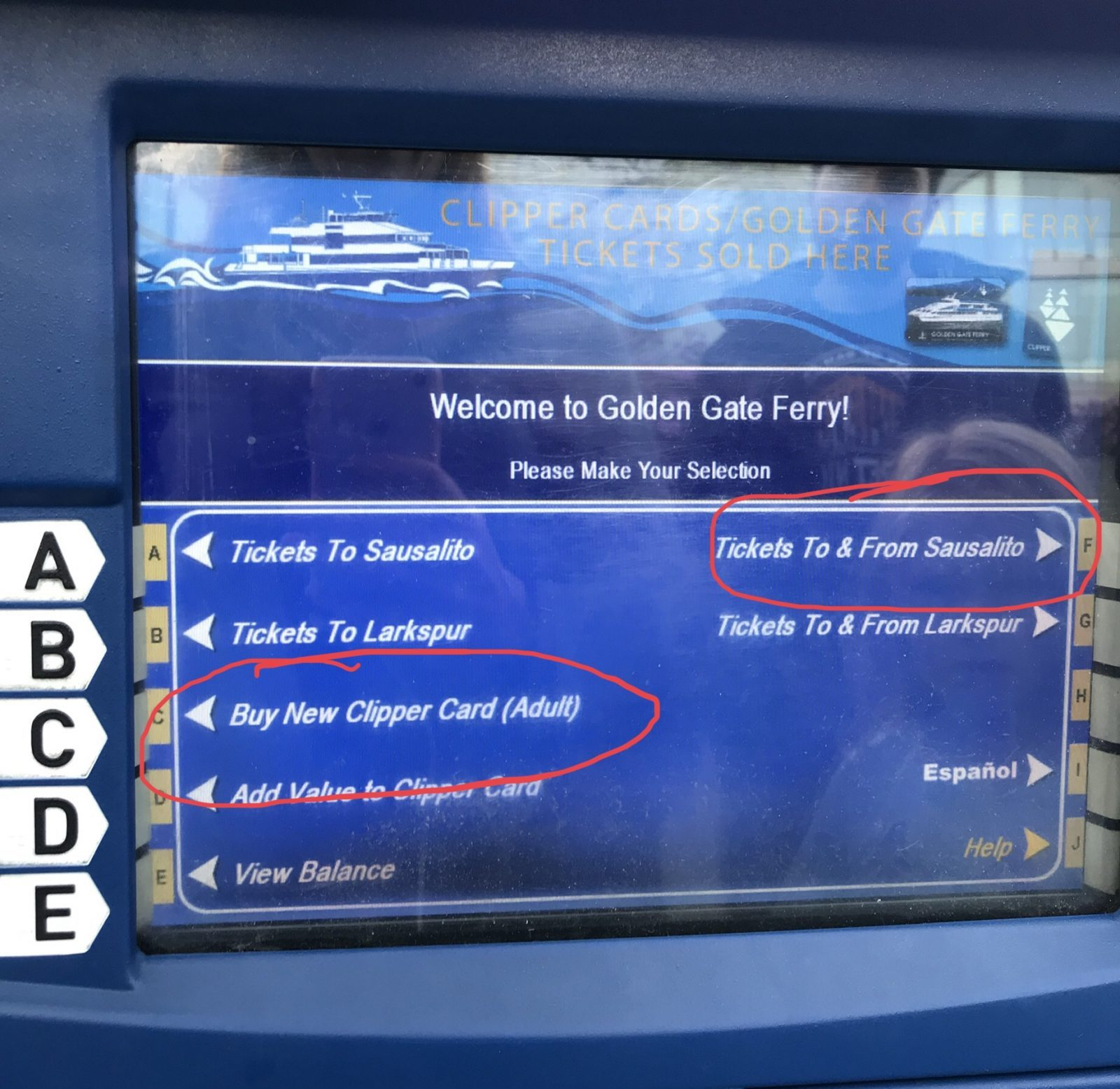 ticket options listed on the machine