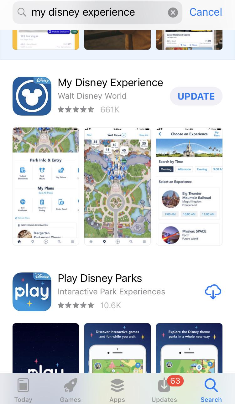 My disney experience app in the app store