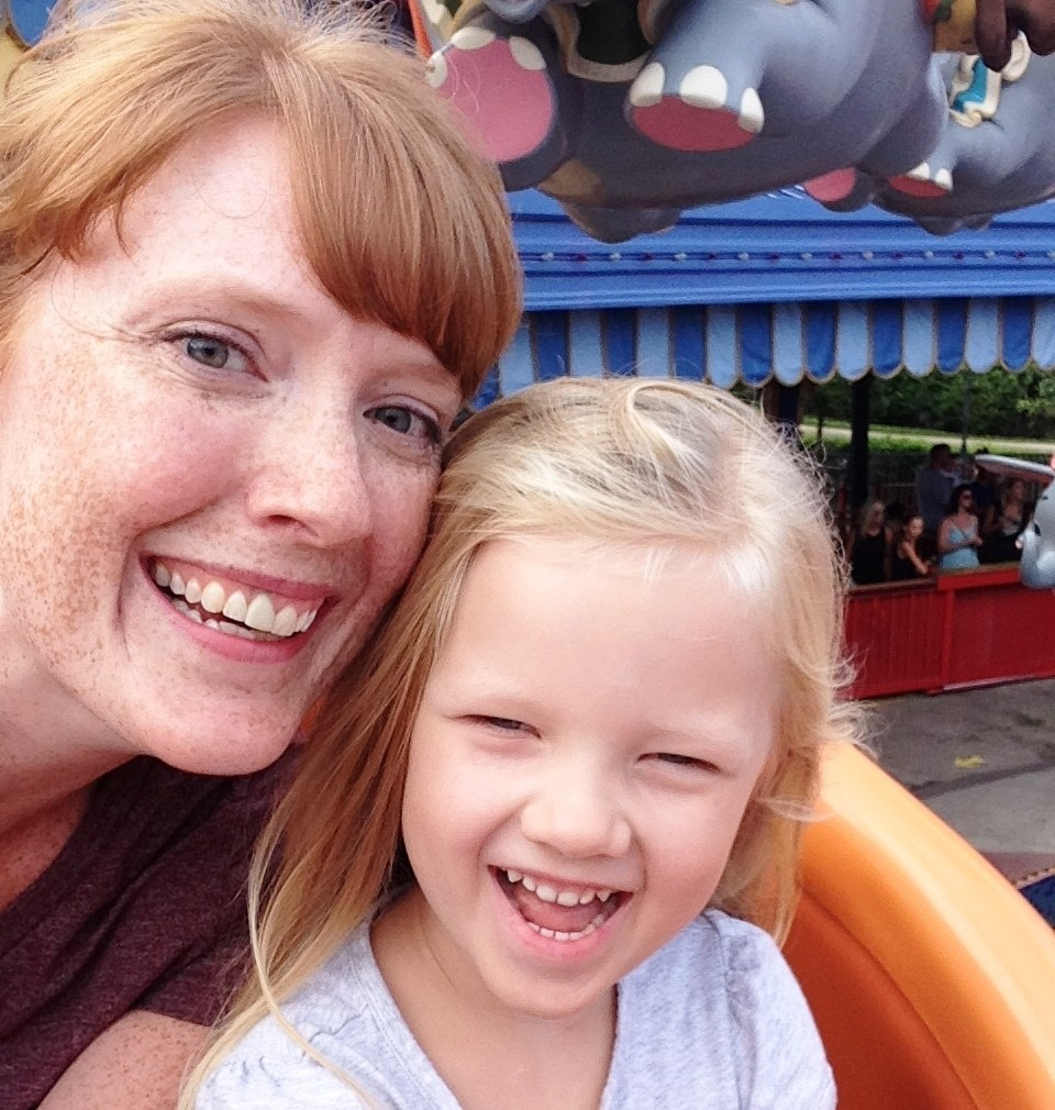 mommy daughter selfie on the dumbo ride in magic kingdom