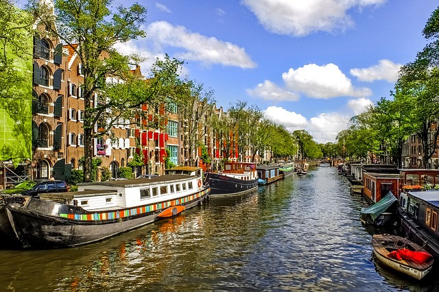 water canal in Europe with boats