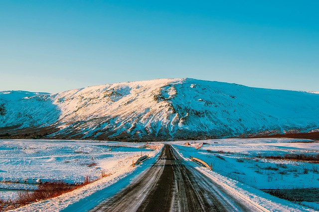 snowy road in iceland in june