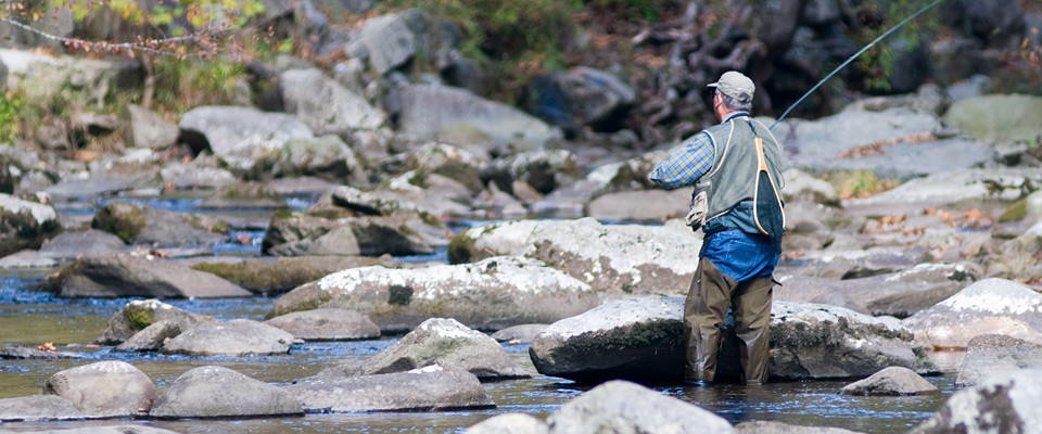 man fly-fishing in a stream