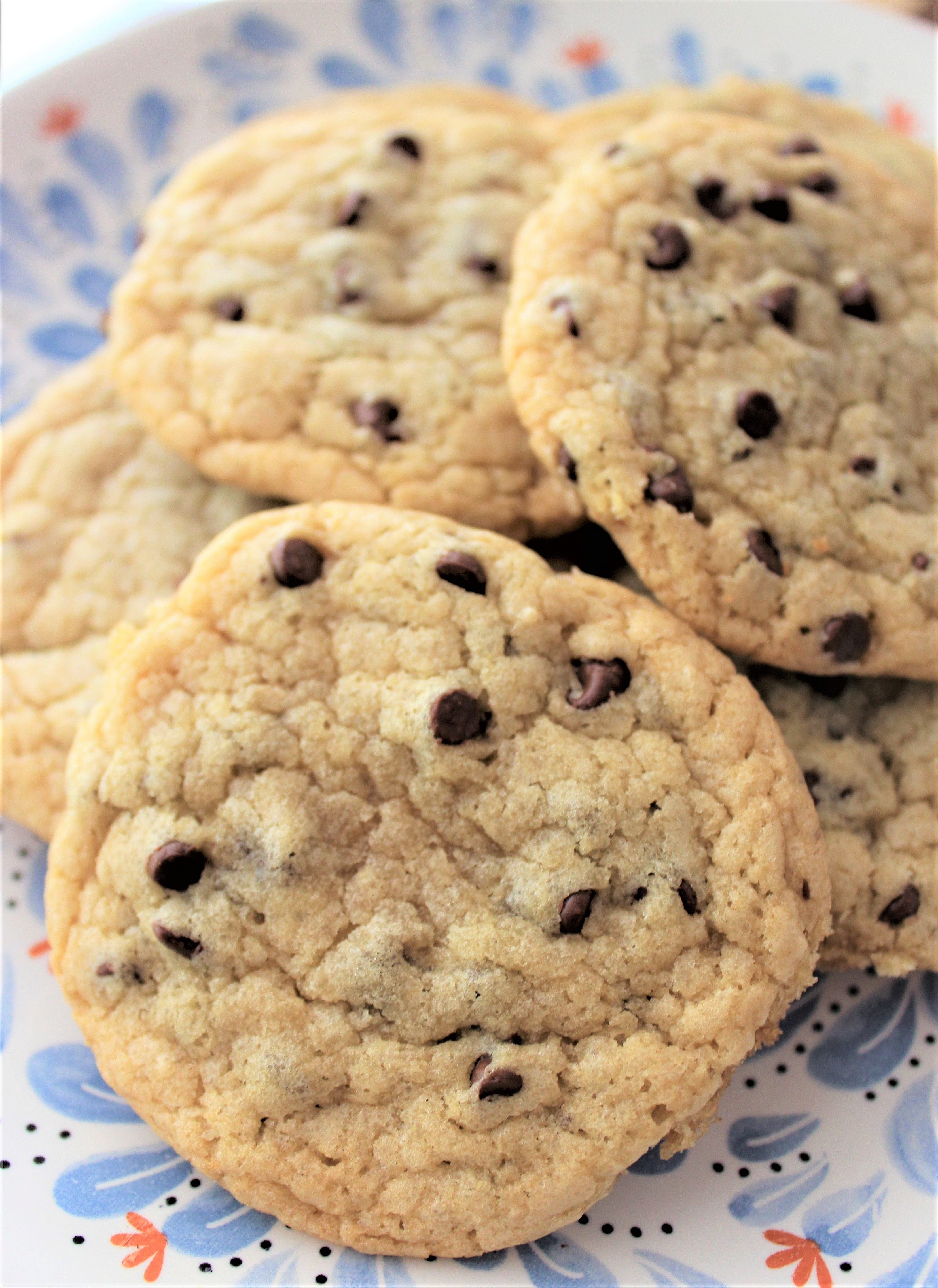 no butter chocolate chip cookies on a plate