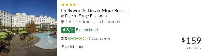 TripAdvisor Listing for Dollywood's DreamMore Resort