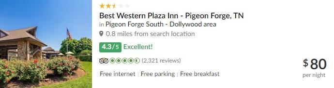 TripAdvisor Listing of Best Western Plaza Inn - Pigeon Forge, TN