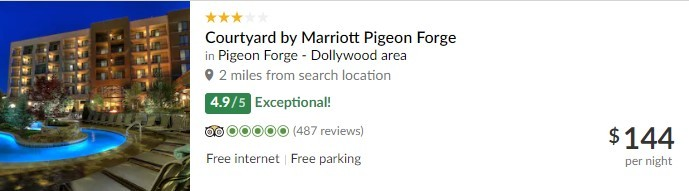 TripAdvisor Listing for Courtyard By Marriott Pigeon Forge