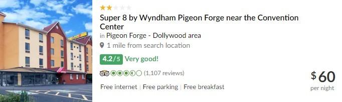 TripAdvisor Listing for Super 8 By Wyndham Pigeon Forge