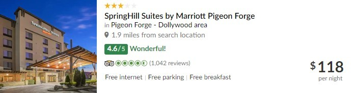 TripAdvisor Listing for SpringHill Suites by Marriott Pigeon Forge