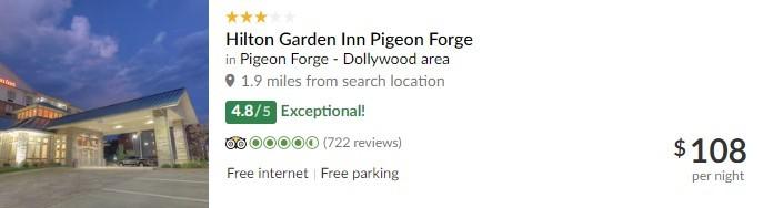 TripAdvisor Listing of Hilton Garden Inn Pigeon Forge