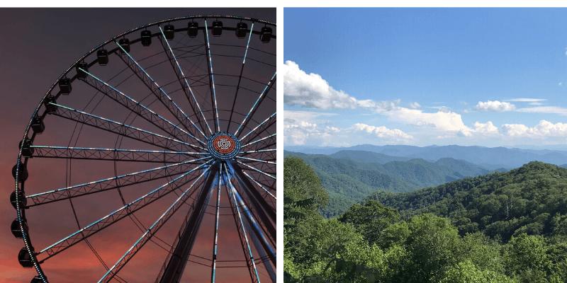 ferris wheel and mountains