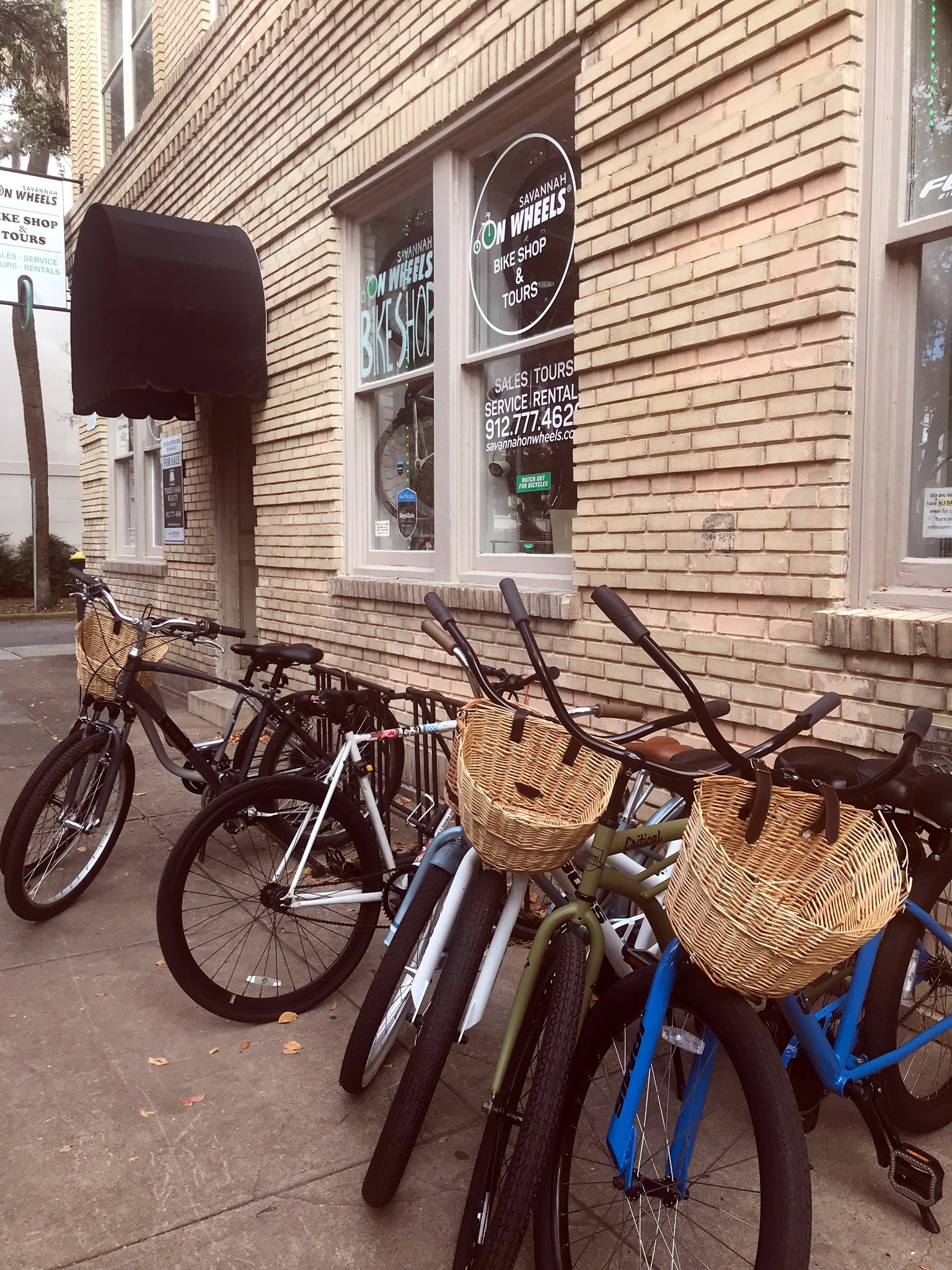 bikes lined up in front of savannah bike shop
